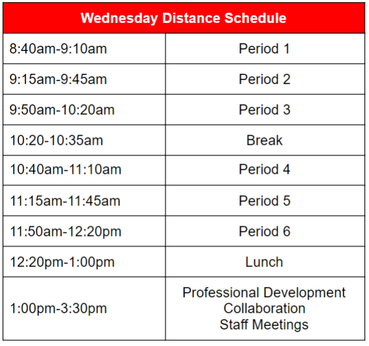Wednesday Distance Learning Schedule