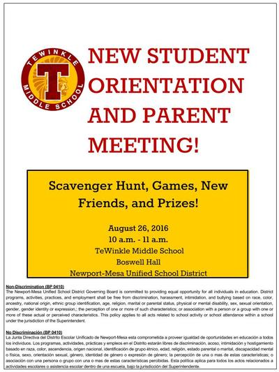 New Student Orientation!